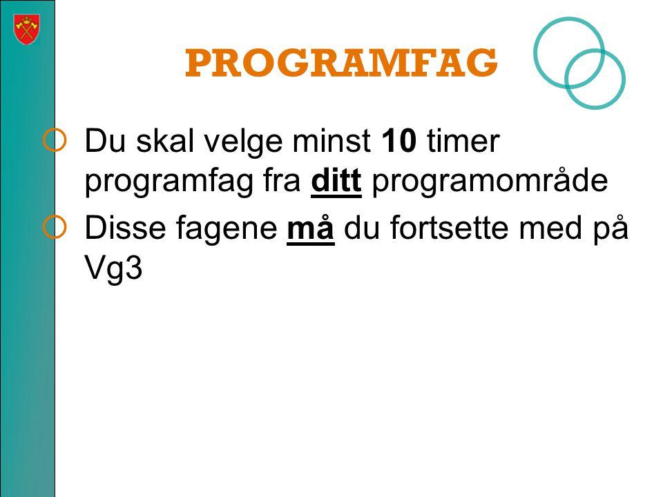 PROGRAMFAG  Du skal velge minst 10 timer programfag fra ditt programområde  Disse fagene må du fortsette med på Vg3