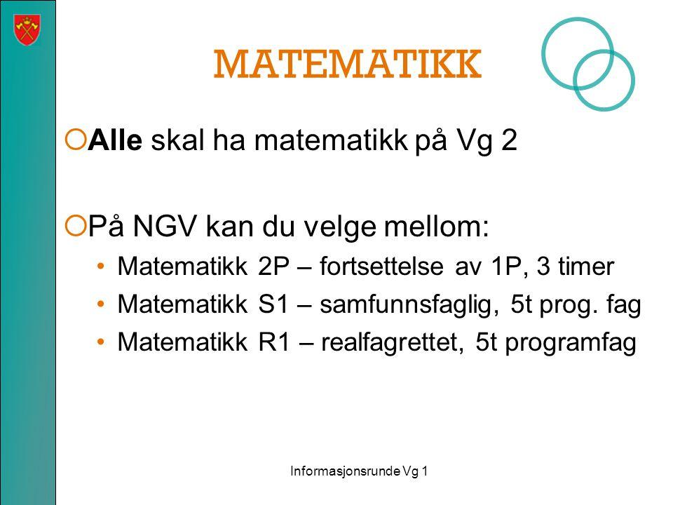 MATEMATIKK  Alle skal ha matematikk på Vg 2  På NGV kan du velge mellom: •Matematikk 2P – fortsettelse av 1P, 3 timer •Matematikk S1 – samfunnsfaglig, 5t prog.