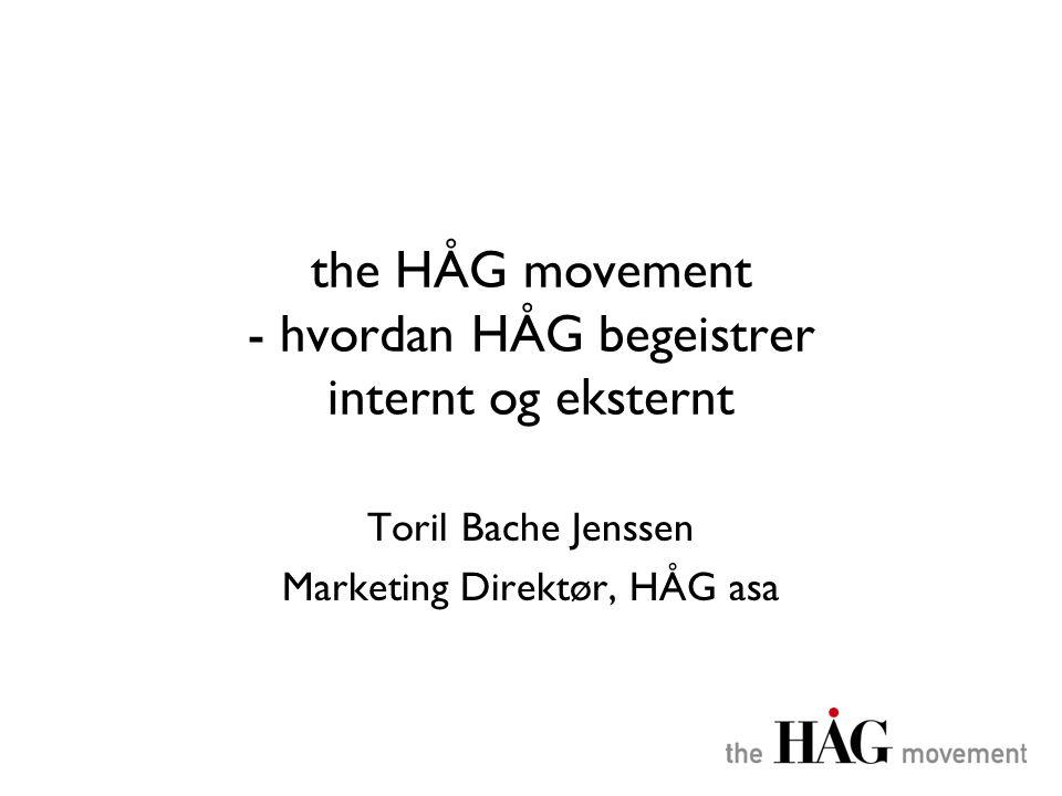 the HÅG movement •Generelt om HÅG •Begeistring internt - bedriftskultur - eksempler •Begeistring eksternt - HÅGs branding plattform •HÅGs prestasjonsmodell •Spørsmål