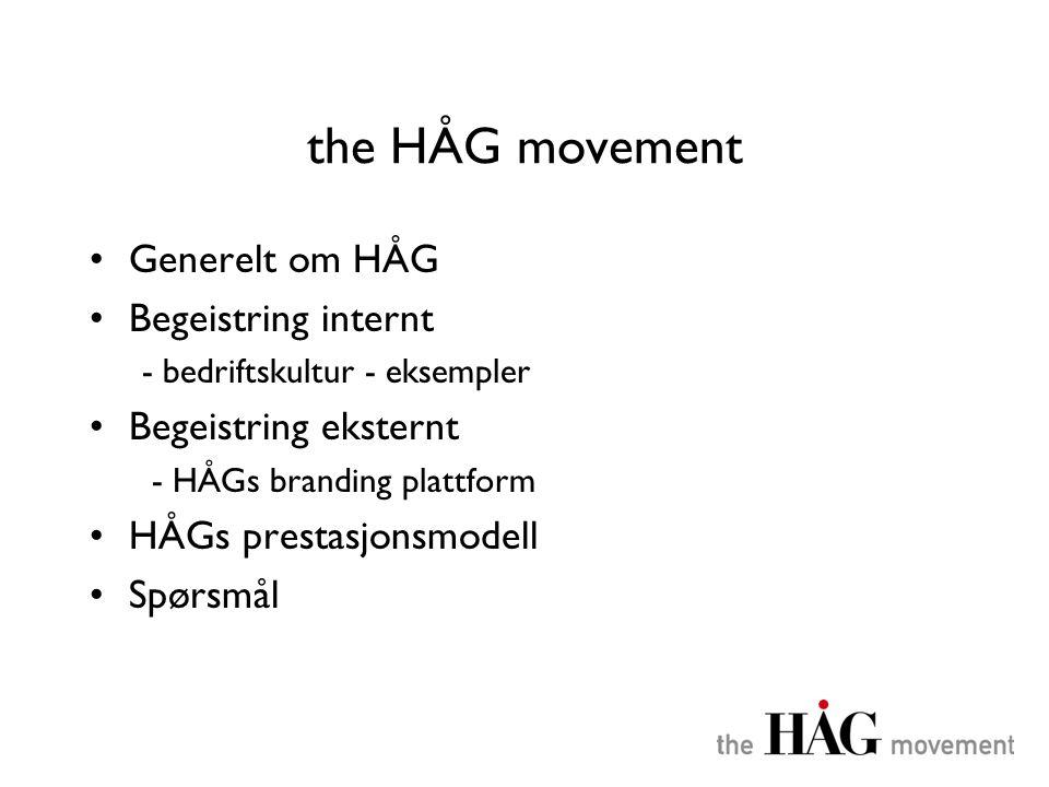 the HÅG movement •Generelt om HÅG •Begeistring internt - bedriftskultur - eksempler •Begeistring eksternt - HÅGs branding plattform •HÅGs prestasjonsm