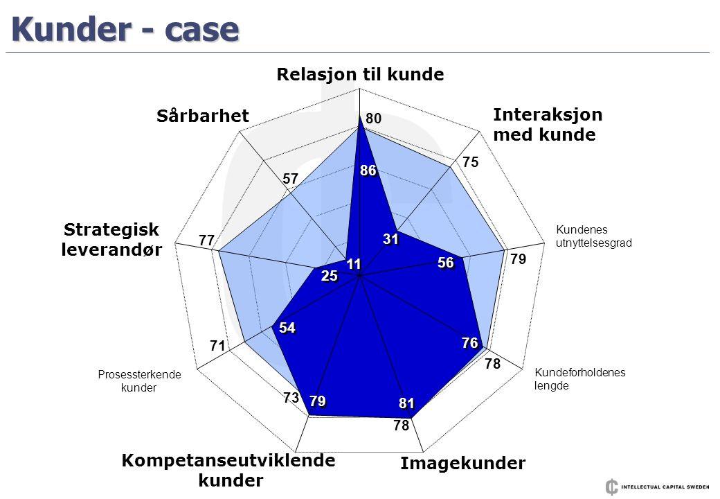 Kunder - case Relasjon til kunde Interaksjon med kunde Kundenes utnyttelsesgrad Kundeforholdenes lengde Imagekunder Kompetanseutviklende kunder Proses