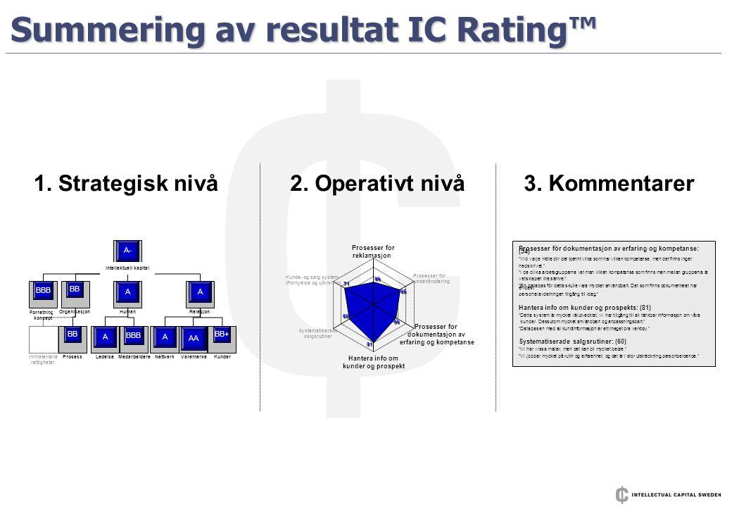Summering av resultat IC Rating™ Forretnings- konsept HumanRelasjonOrganisasjon ProsessLedelseMedarbeidereNettverkVaremerkeKunderImmateriella rettighe