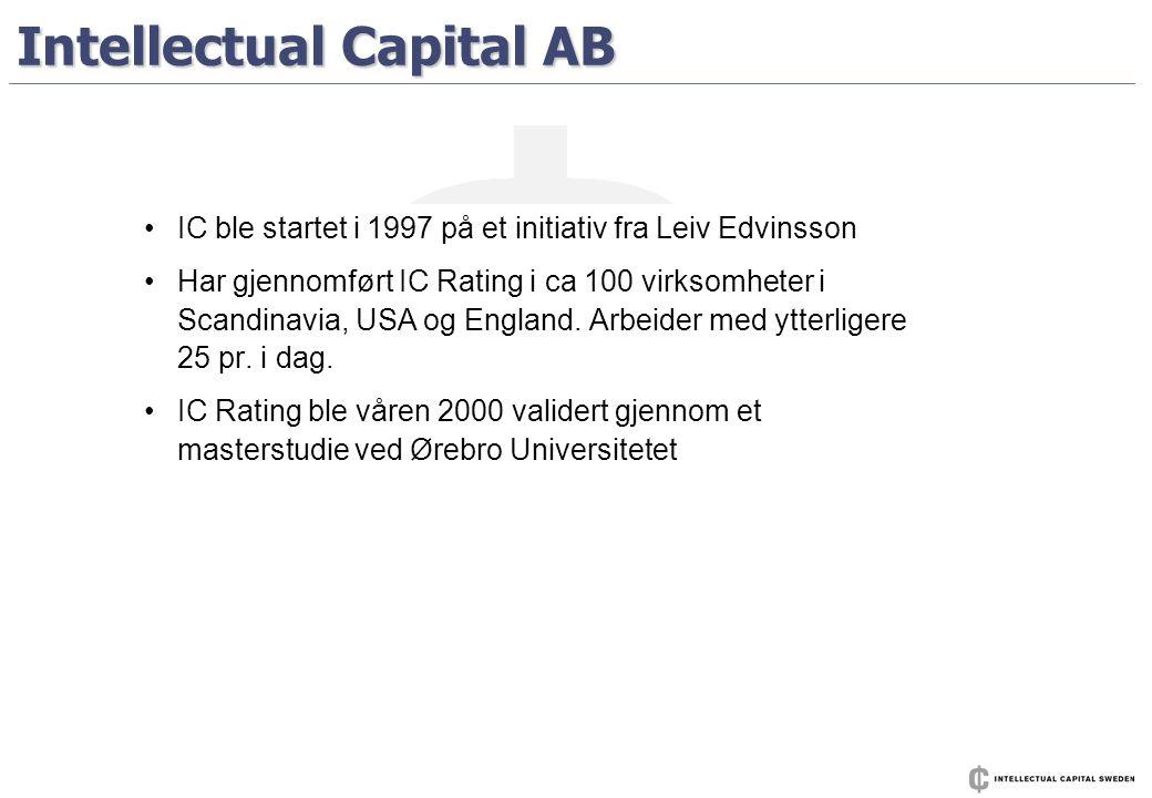 Intellectual Capital AB • •IC ble startet i 1997 på et initiativ fra Leiv Edvinsson • •Har gjennomført IC Rating i ca 100 virksomheter i Scandinavia,