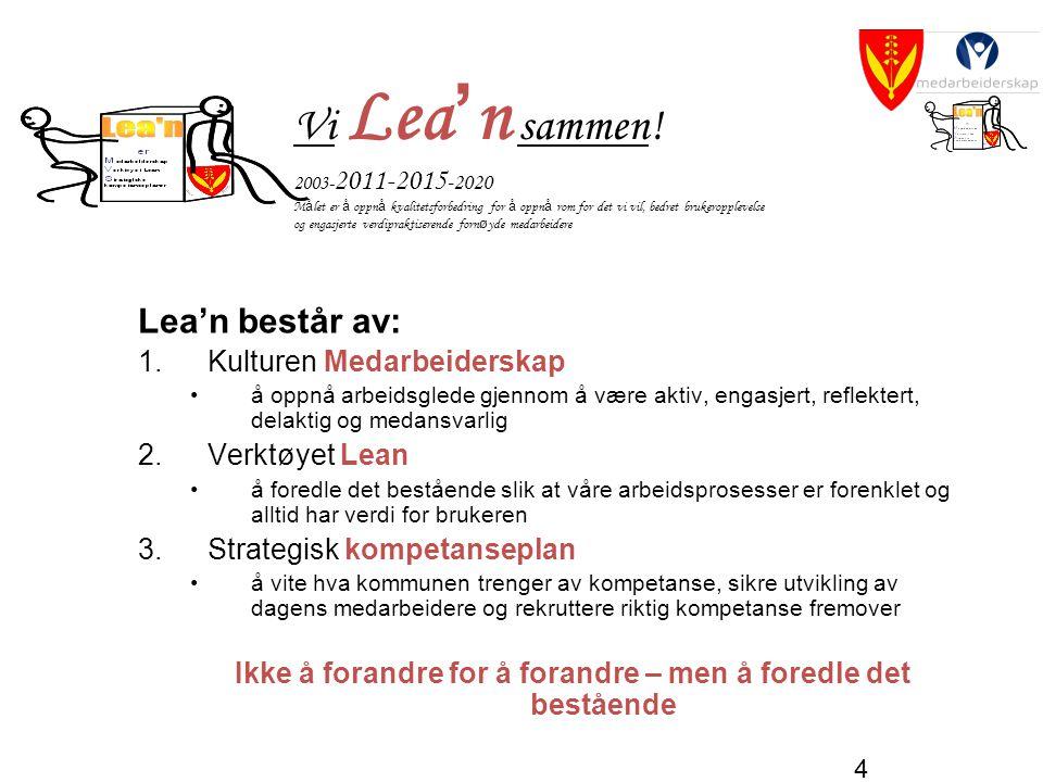 4 Vi Lea ' n sammen! 2003- 2011-2015 -2020 M å let er å oppn å kvalitetsforbedring for å oppn å rom for det vi vil, bedret brukeropplevelse og engasje