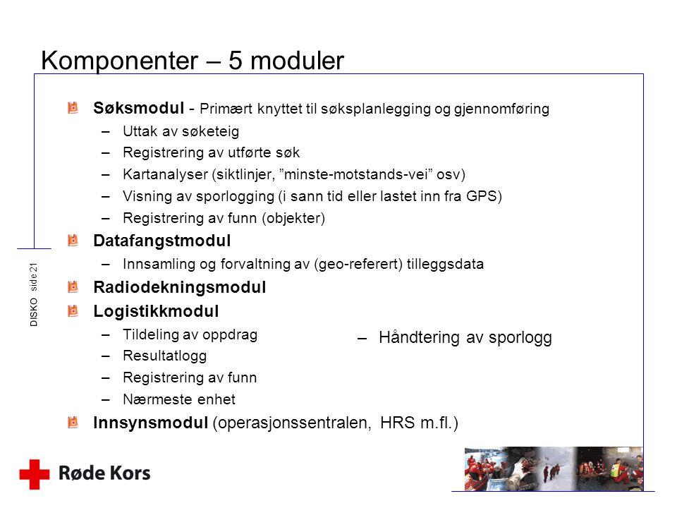 DISKO side 21 Komponenter – 5 moduler Søksmodul - Primært knyttet til søksplanlegging og gjennomføring –Uttak av søketeig –Registrering av utførte søk