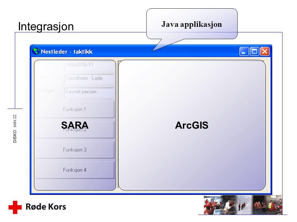 DISKO side 22 Integrasjon Java applikasjon SARAArcGIS