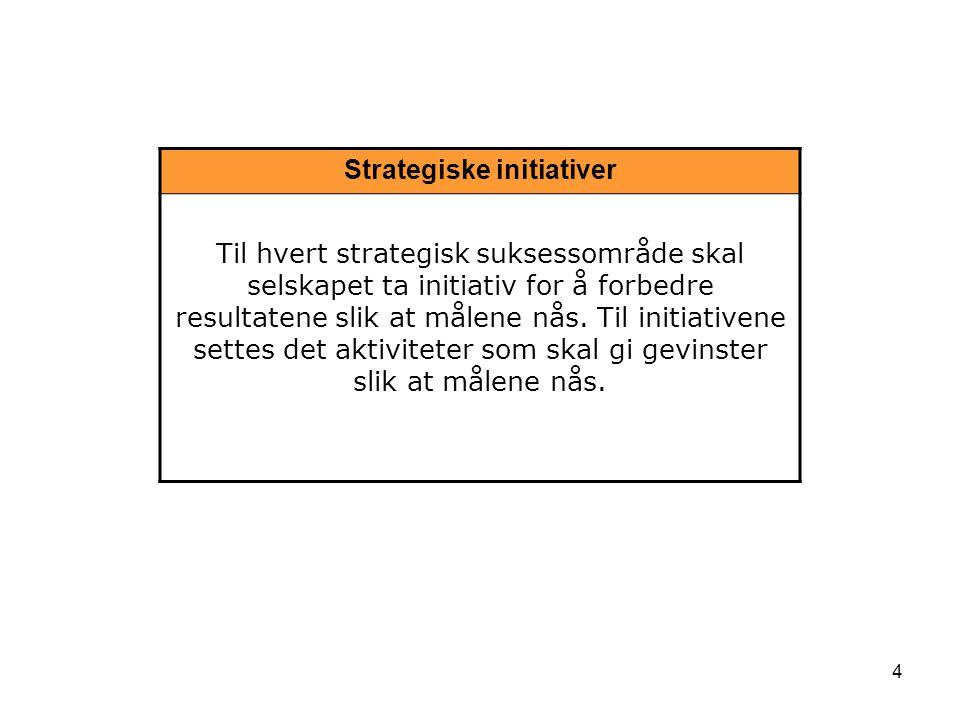 4 Strategiske initiativer Til hvert strategisk suksessområde skal selskapet ta initiativ for å forbedre resultatene slik at målene nås. Til initiative