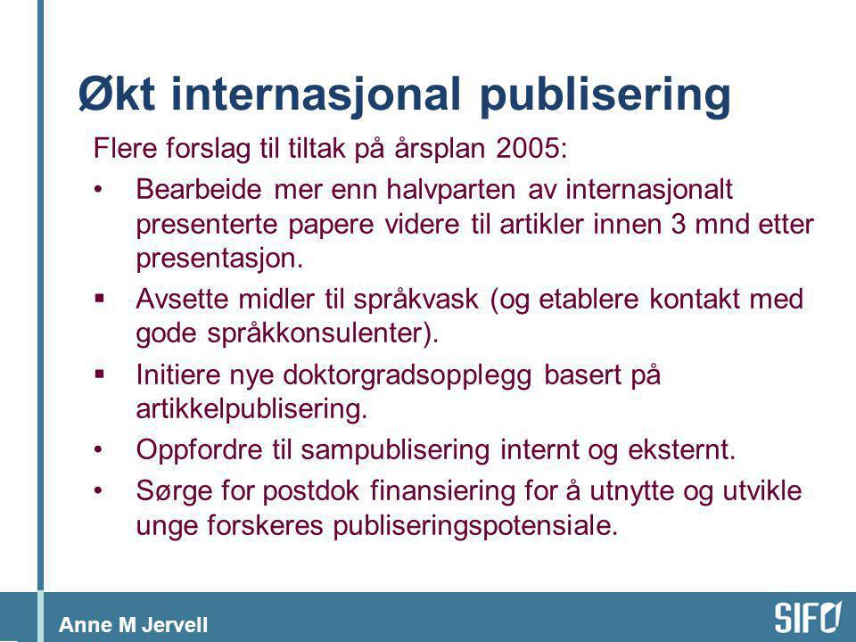 Anne M Jervell Økt internasjonal publisering Flere forslag til tiltak på årsplan 2005: •Bearbeide mer enn halvparten av internasjonalt presenterte pap