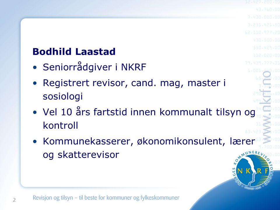 2 Bodhild Laastad •Seniorrådgiver i NKRF •Registrert revisor, cand.