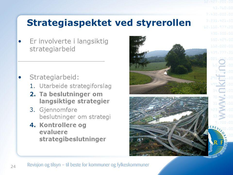 24 Strategiaspektet ved styrerollen •Er involverte i langsiktig strategiarbeid _____________________ •Strategiarbeid: 1.Utarbeide strategiforslag 2.Ta beslutninger om langsiktige strategier 3.Gjennomføre beslutninger om strategi 4.Kontrollere og evaluere strategibeslutninger