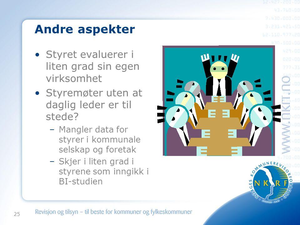 25 Andre aspekter •Styret evaluerer i liten grad sin egen virksomhet •Styremøter uten at daglig leder er til stede.