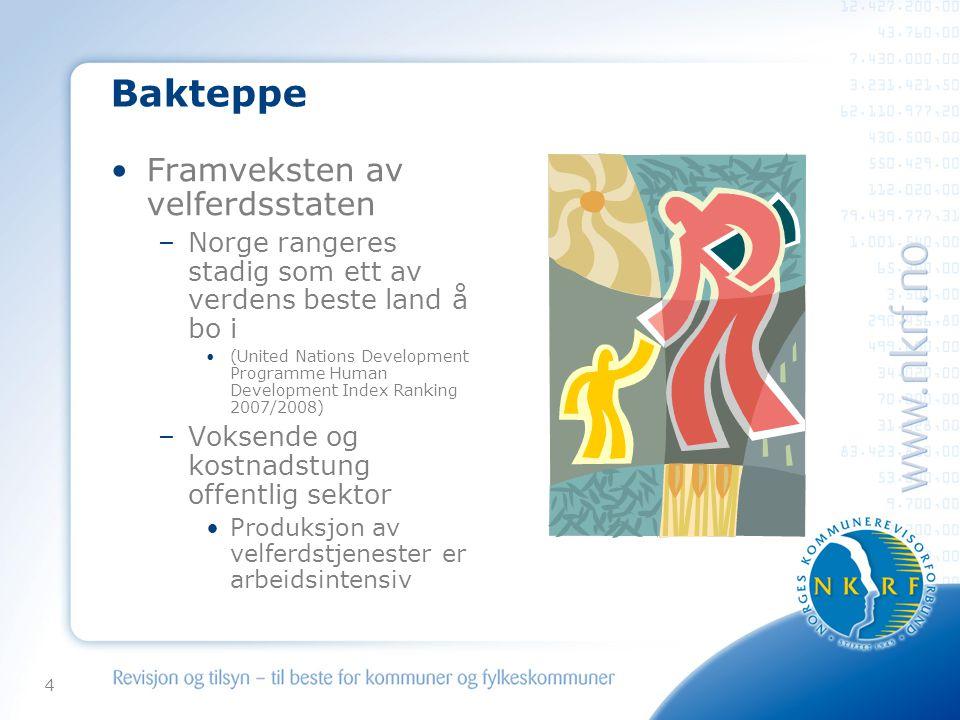 4 Bakteppe •Framveksten av velferdsstaten –Norge rangeres stadig som ett av verdens beste land å bo i •(United Nations Development Programme Human Development Index Ranking 2007/2008) –Voksende og kostnadstung offentlig sektor •Produksjon av velferdstjenester er arbeidsintensiv