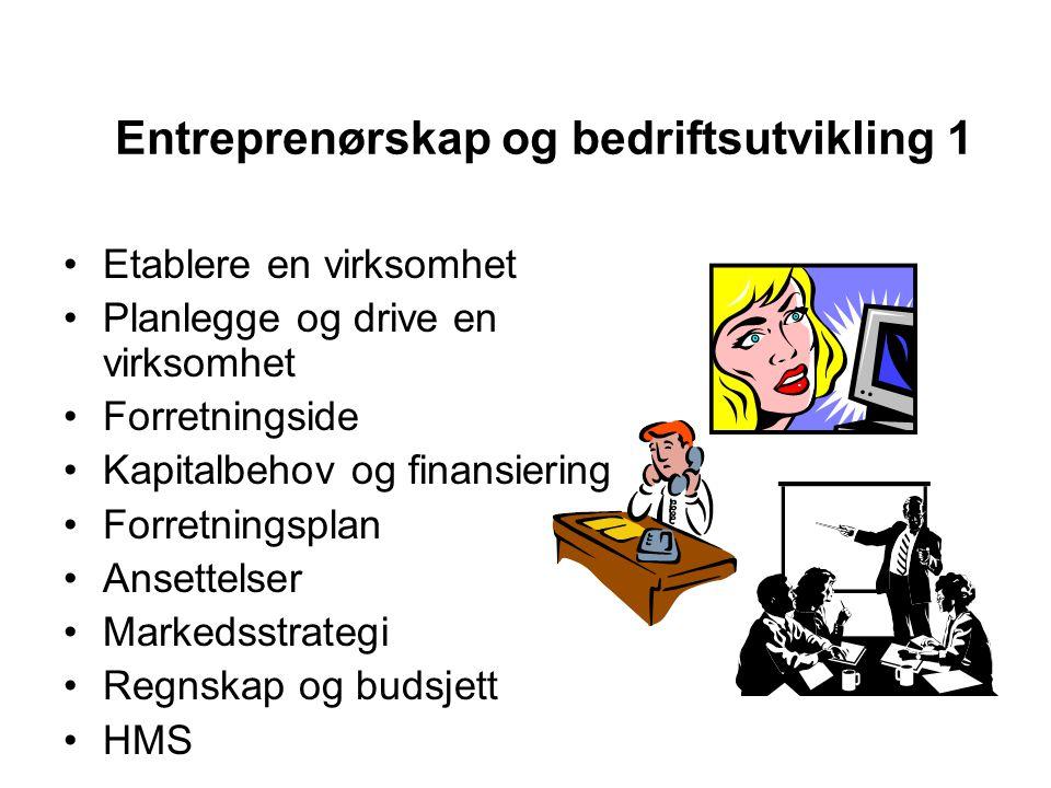 Entreprenørskap og bedriftsutvikling 1 •Etablere en virksomhet •Planlegge og drive en virksomhet •Forretningside •Kapitalbehov og finansiering •Forret