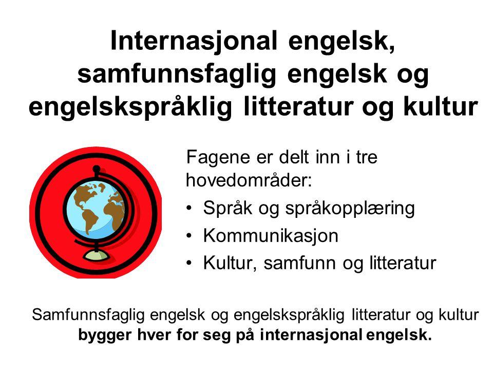 Internasjonal engelsk, samfunnsfaglig engelsk og engelskspråklig litteratur og kultur Fagene er delt inn i tre hovedområder: • Språk og språkopplæring