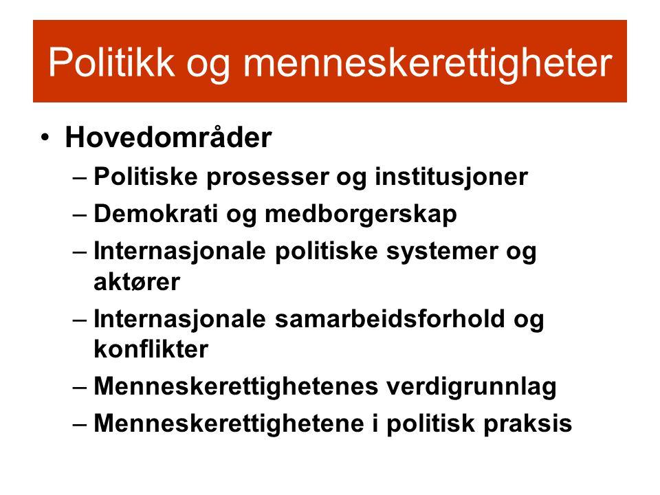 Politikk og menneskerettigheter •Hovedområder –Politiske prosesser og institusjoner –Demokrati og medborgerskap –Internasjonale politiske systemer og