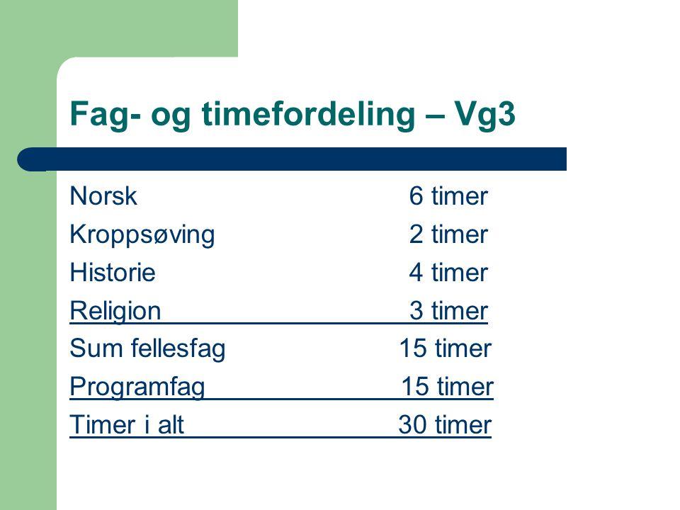 Fag- og timefordeling – Vg3 Norsk6 timer Kroppsøving2 timer Historie4 timer Religion3 timer Sum fellesfag 15 timer Programfag 15 timer Timer i alt 30