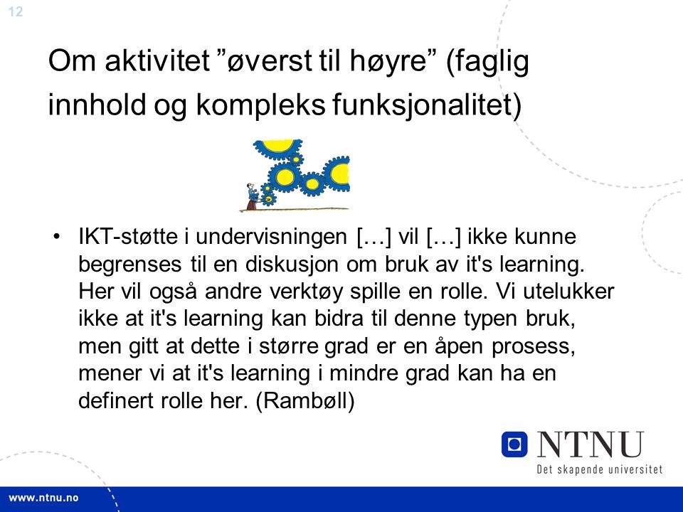 12 Om aktivitet øverst til høyre (faglig innhold og kompleks funksjonalitet) •IKT-støtte i undervisningen […] vil […] ikke kunne begrenses til en diskusjon om bruk av it s learning.