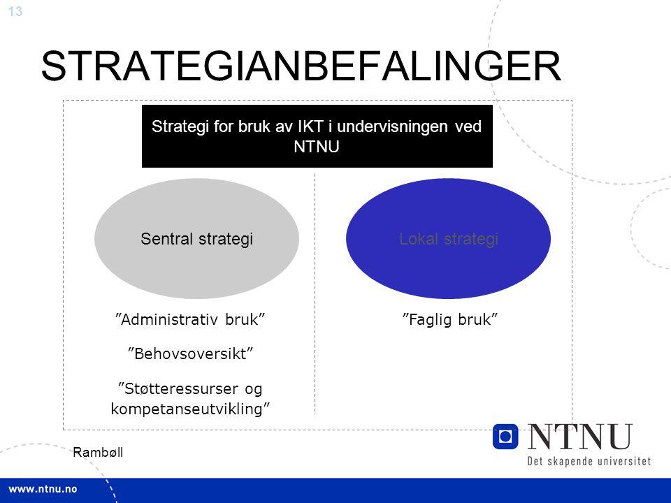 13 STRATEGIANBEFALINGER Strategi for bruk av IKT i undervisningen ved NTNU Sentral strategiLokal strategi Administrativ bruk Behovsoversikt Støtteressurser og kompetanseutvikling Faglig bruk Rambøll