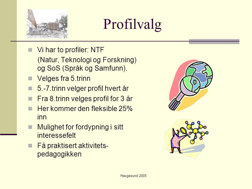 Haugesund 2005 Profilvalg  Vi har to profiler: NTF (Natur, Teknologi og Forskning) og SoS (Språk og Samfunn).  Velges fra 5.trinn  5.-7.trinn velge