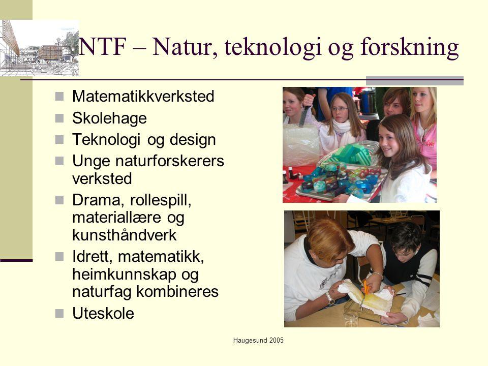 Haugesund 2005 NTF – Natur, teknologi og forskning  Matematikkverksted  Skolehage  Teknologi og design  Unge naturforskerers verksted  Drama, rol