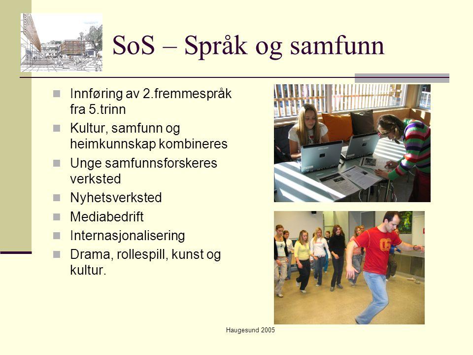 Haugesund 2005 SoS – Språk og samfunn  Innføring av 2.fremmespråk fra 5.trinn  Kultur, samfunn og heimkunnskap kombineres  Unge samfunnsforskeres v