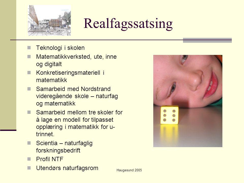 Haugesund 2005 Realfagssatsing  Teknologi i skolen  Matematikkverksted, ute, inne og digitalt  Konkretiseringsmateriell i matematikk  Samarbeid me