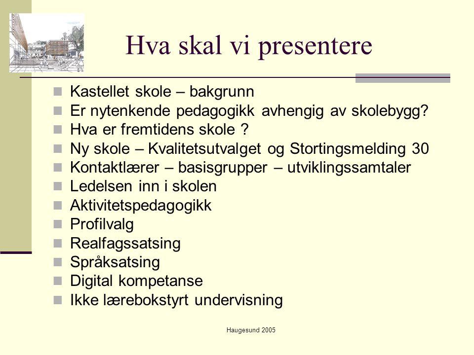 Haugesund 2005 Hva skal vi presentere  Tilpasset undervisning  Elevmedvirking  Aktivitetsskole  Foreldresamarbeid  Evaluering – kvalitetssikring  Fremtidens elev