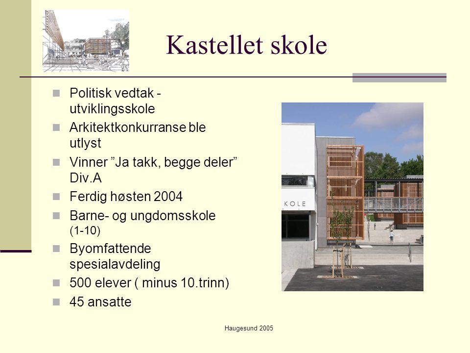 """Haugesund 2005 Kastellet skole  Politisk vedtak - utviklingsskole  Arkitektkonkurranse ble utlyst  Vinner """"Ja takk, begge deler"""" Div.A  Ferdig høs"""