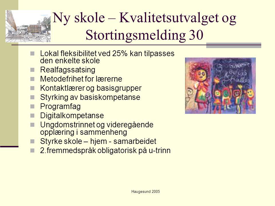 Haugesund 2005 Ny skole – Kvalitetsutvalget og Stortingsmelding 30  Lokal fleksibilitet ved 25% kan tilpasses den enkelte skole  Realfagssatsing  M