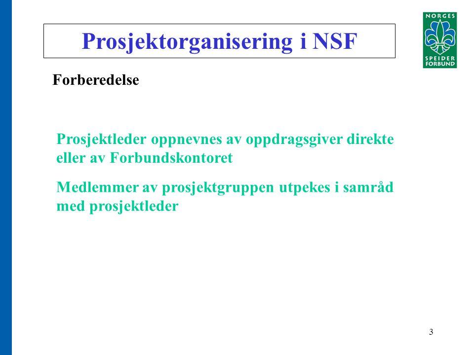 3 Prosjektorganisering i NSF Forberedelse Prosjektleder oppnevnes av oppdragsgiver direkte eller av Forbundskontoret Medlemmer av prosjektgruppen utpekes i samråd med prosjektleder