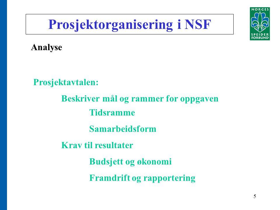 5 Prosjektorganisering i NSF Analyse Prosjektavtalen: Beskriver mål og rammer for oppgaven Tidsramme Samarbeidsform Krav til resultater Budsjett og økonomi Framdrift og rapportering