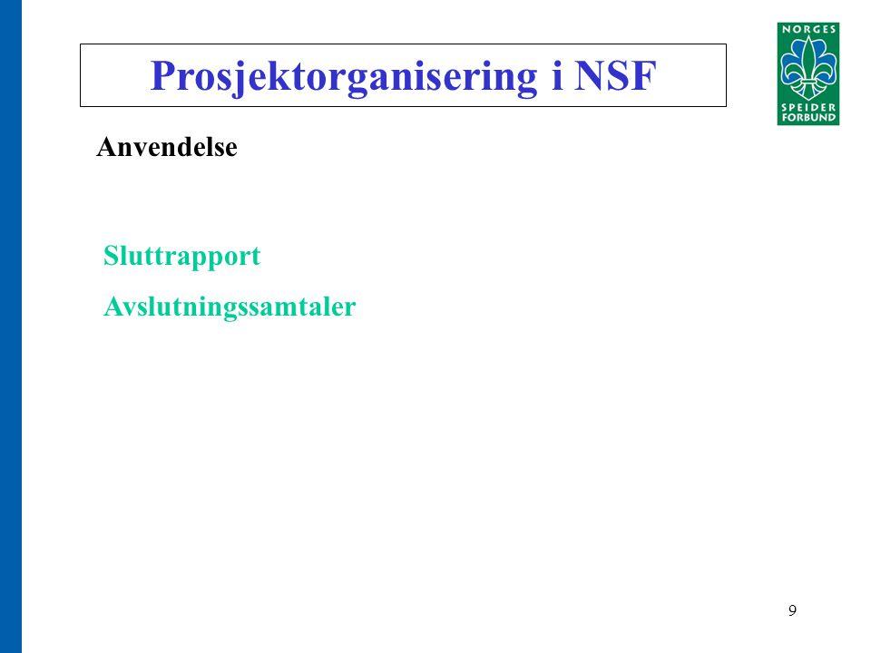 9 Prosjektorganisering i NSF Anvendelse Sluttrapport Avslutningssamtaler