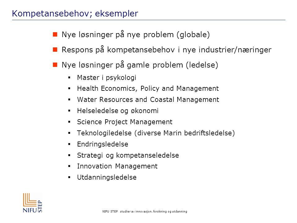 NIFU STEP studier av innovasjon, forskning og utdanning Kompetansebehov; eksempler  Nye løsninger på nye problem (globale)  Respons på kompetansebeh