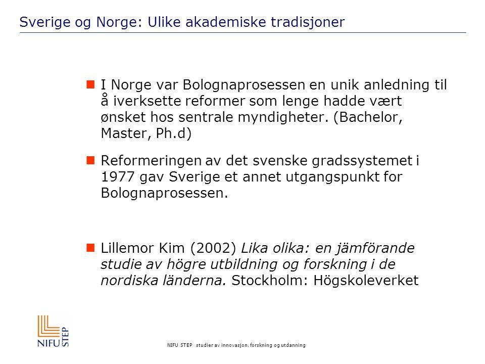 NIFU STEP studier av innovasjon, forskning og utdanning Sverige og Norge: Ulike akademiske tradisjoner  I Norge var Bolognaprosessen en unik anledning til å iverksette reformer som lenge hadde vært ønsket hos sentrale myndigheter.