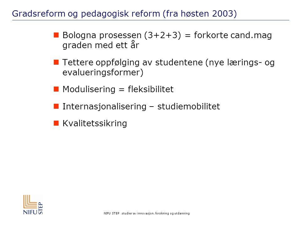 NIFU STEP studier av innovasjon, forskning og utdanning Gradsreform og pedagogisk reform (fra høsten 2003)  Bologna prosessen (3+2+3) = forkorte cand.mag graden med ett år  Tettere oppfølging av studentene (nye lærings- og evalueringsformer)  Modulisering = fleksibilitet  Internasjonalisering – studiemobilitet  Kvalitetssikring