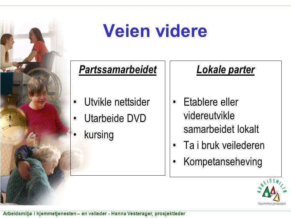 Veien videre Partssamarbeidet •Utvikle nettsider •Utarbeide DVD •kursing Lokale parter •Etablere eller videreutvikle samarbeidet lokalt •Ta i bruk vei