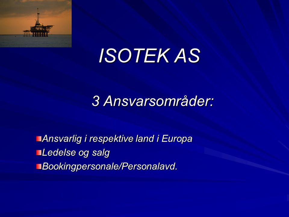 ISOTEK AS 3 Ansvarsområder: Ansvarlig i respektive land i Europa Ledelse og salg Bookingpersonale/Personalavd.