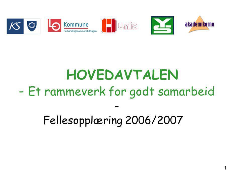1 HOVEDAVTALEN - Et rammeverk for godt samarbeid - Fellesopplæring 2006/2007