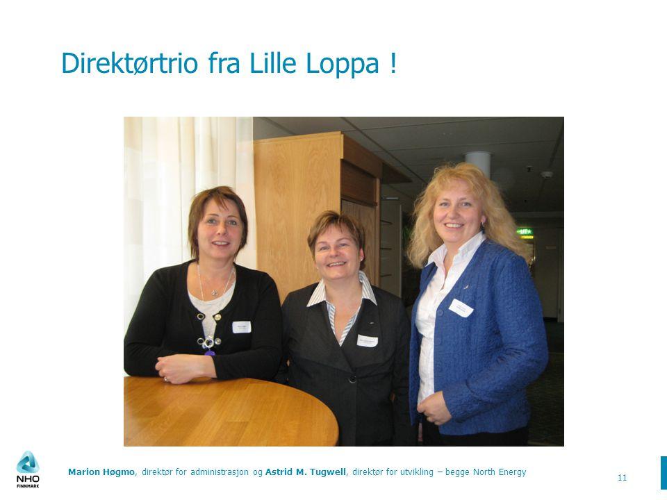 Direktørtrio fra Lille Loppa .Marion Høgmo, direktør for administrasjon og Astrid M.