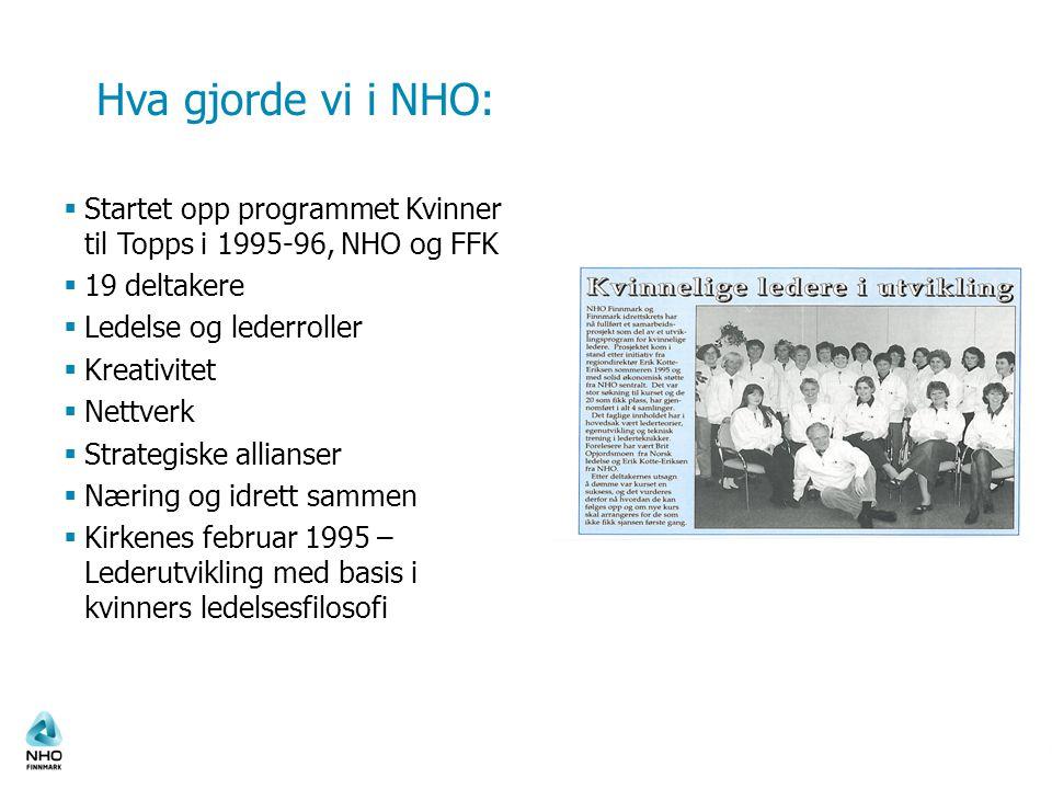 Hva gjorde vi i NHO:  Startet opp programmet Kvinner til Topps i 1995-96, NHO og FFK  19 deltakere  Ledelse og lederroller  Kreativitet  Nettverk
