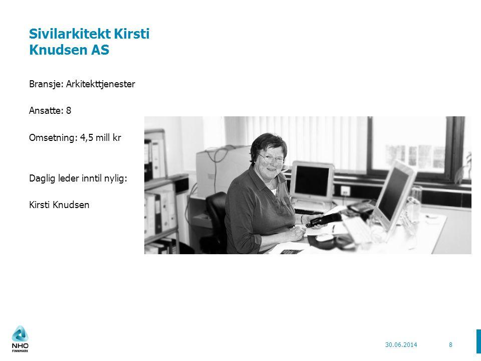 Sivilarkitekt Kirsti Knudsen AS Bransje: Arkitekttjenester Ansatte: 8 Omsetning: 4,5 mill kr Daglig leder inntil nylig: Kirsti Knudsen 30.06.20148