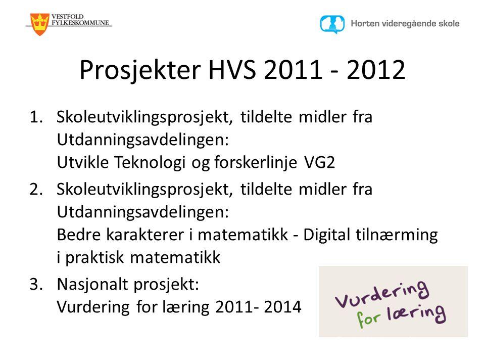 Prosjekter HVS 2011 - 2012 1.Skoleutviklingsprosjekt, tildelte midler fra Utdanningsavdelingen: Utvikle Teknologi og forskerlinje VG2 2.Skoleutvikling