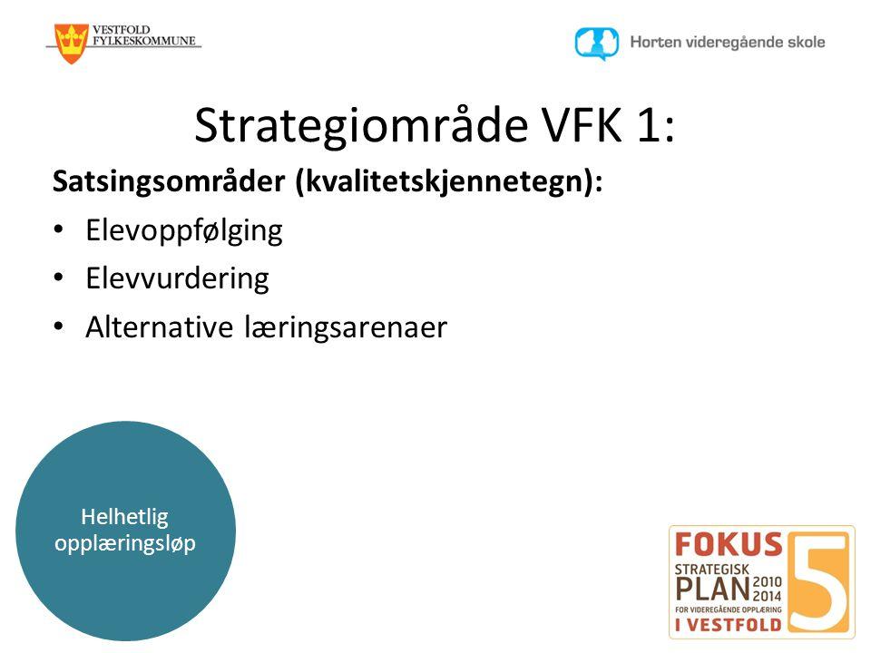 Helhetlig opplæringsløp Strategiområde VFK 1: Satsingsområder (kvalitetskjennetegn): • Elevoppfølging • Elevvurdering • Alternative læringsarenaer