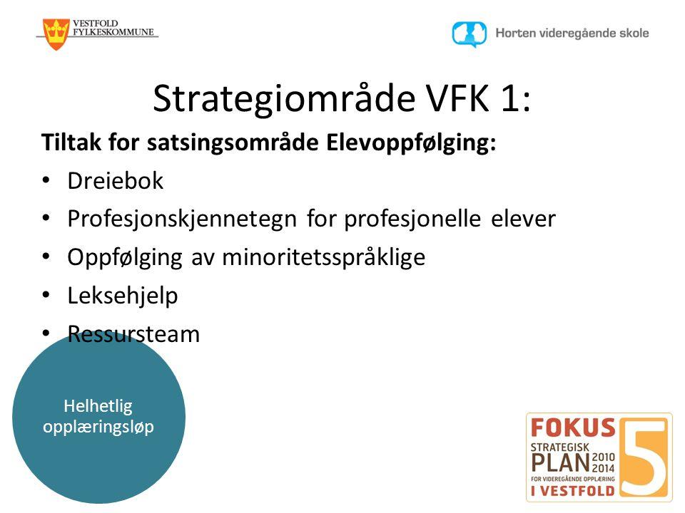 Helhetlig opplæringsløp Strategiområde VFK 1: Tiltak for satsingsområde Elevoppfølging: • Dreiebok • Profesjonskjennetegn for profesjonelle elever • O