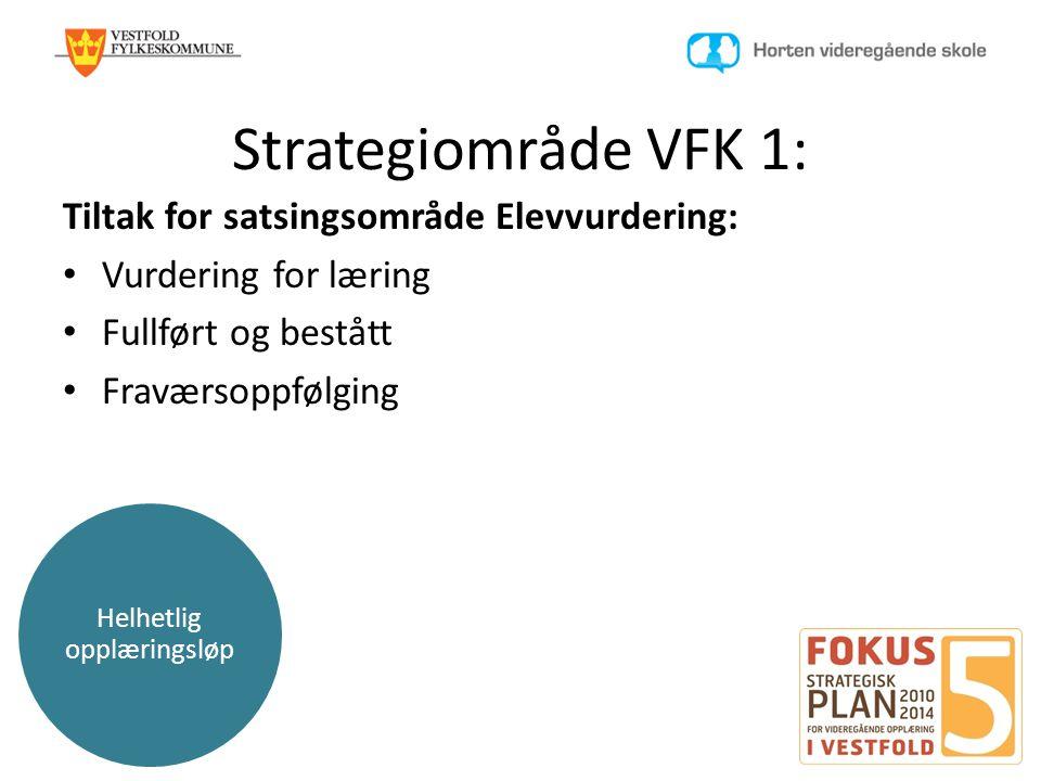 Helhetlig opplæringsløp Strategiområde VFK 1: Tiltak for satsingsområde Elevvurdering: • Vurdering for læring • Fullført og bestått • Fraværsoppfølgin