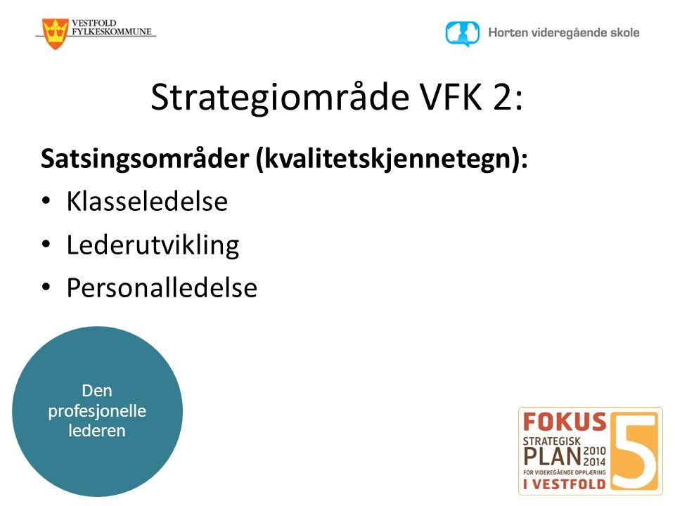 Den profesjonelle lederen Strategiområde VFK 2: Satsingsområder (kvalitetskjennetegn): • Klasseledelse • Lederutvikling • Personalledelse