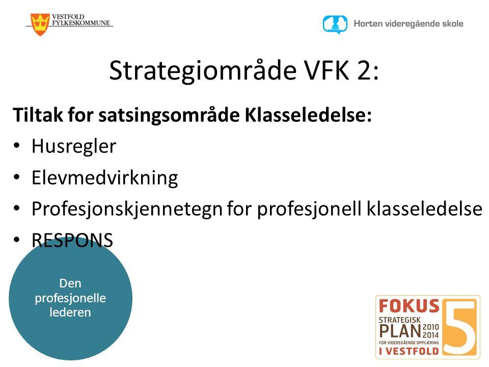 Den profesjonelle lederen Strategiområde VFK 2: Tiltak for satsingsområde Klasseledelse: • Husregler • Elevmedvirkning • Profesjonskjennetegn for prof