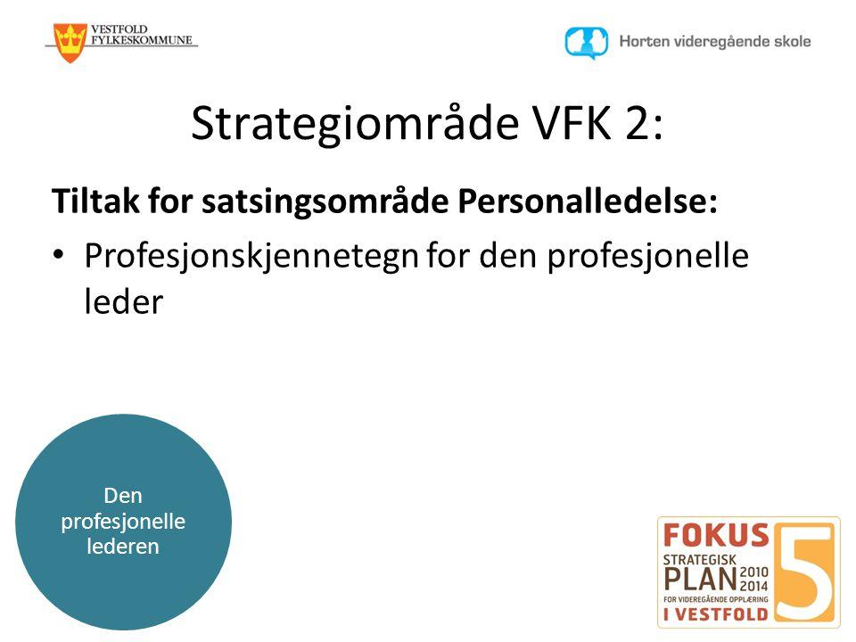 Den profesjonelle lederen Strategiområde VFK 2: Tiltak for satsingsområde Personalledelse: • Profesjonskjennetegn for den profesjonelle leder