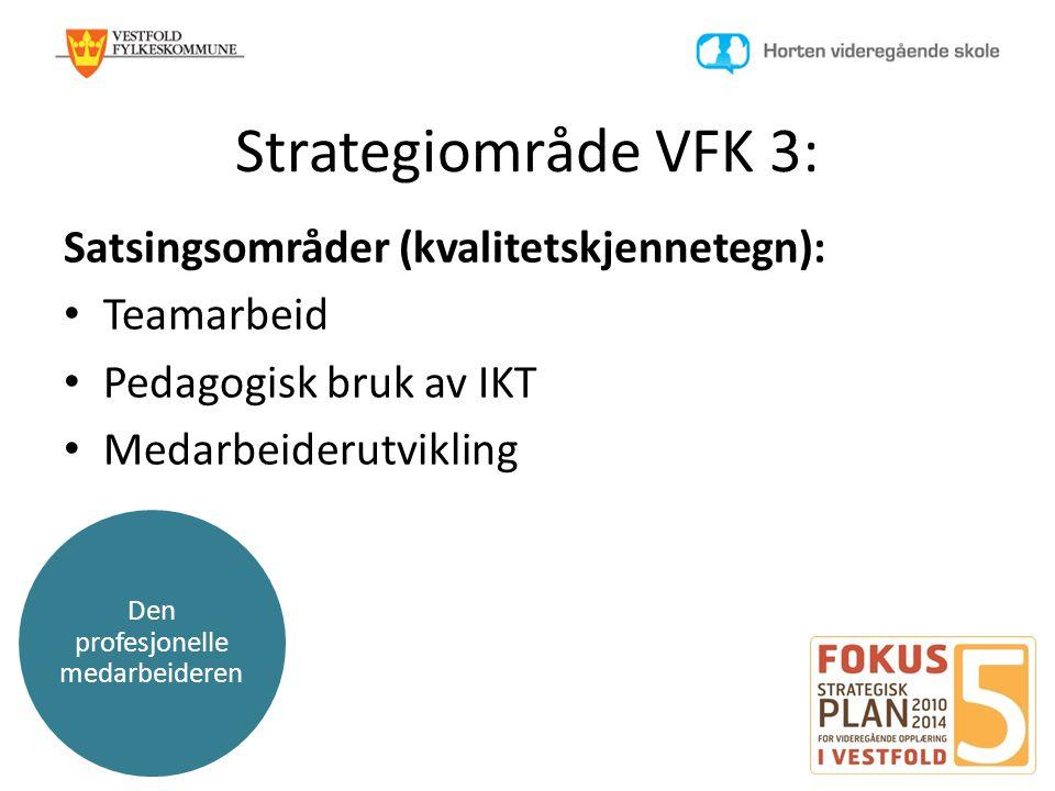 Den profesjonelle medarbeideren Strategiområde VFK 3: Satsingsområder (kvalitetskjennetegn): • Teamarbeid • Pedagogisk bruk av IKT • Medarbeiderutvikl