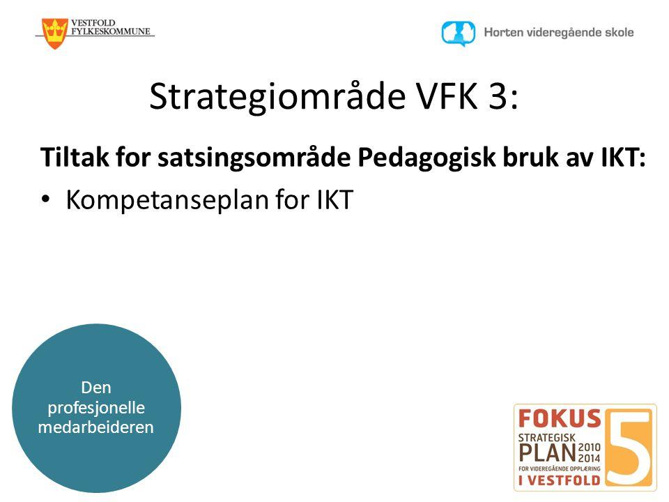 Den profesjonelle medarbeideren Strategiområde VFK 3: Tiltak for satsingsområde Pedagogisk bruk av IKT: • Kompetanseplan for IKT